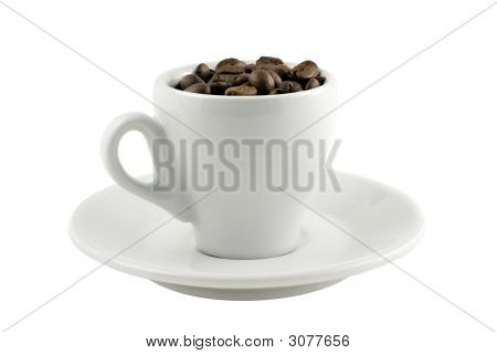 Coffee Cup With Beans Isolated On White