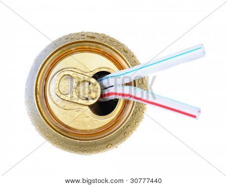 Two Drinking straws in an open soda can. Top view over white.
