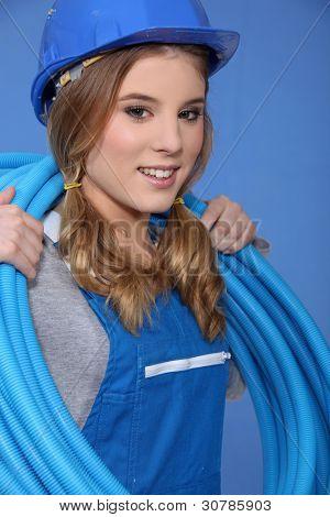 Cute female plumber