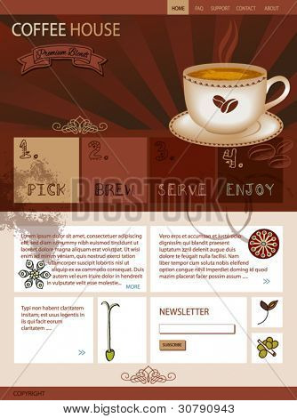 Warm Web Site Template for a Coffee Shop, with a cup of Java, innovative web buttons for links and various coffee-related doodles, drawings and ornaments