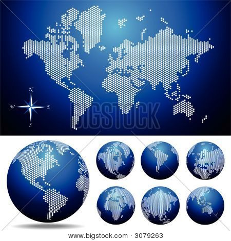 Vector Globe And Map Of The World