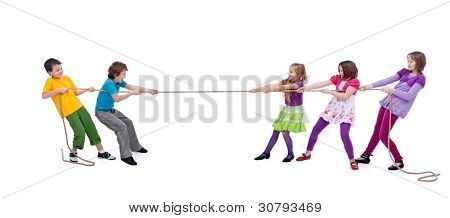 Kids playing tug of war - girls versus boys, isolated