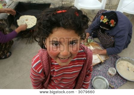 Cute Girl Smiling While Waiting For Gozleme