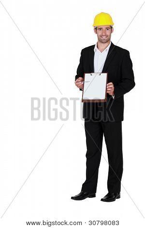 Man with yellow helmet and portfolios