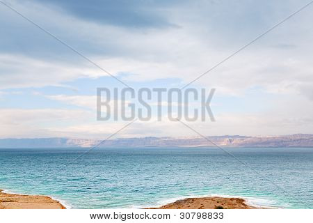 Early Blue Dawn On Dead Sea Coast