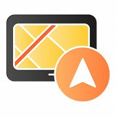 Tablet Navigator Flat Icon. Gps Color Icons In Trendy Flat Style. Tablet With Navigation Gradient St poster