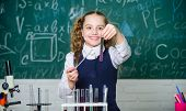 Happy Child. Chemistry Lesson. Student Doing Biology Experiments With Microscope. Chemistry Educatio poster