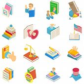 Political Book Icons Set. Isometric Set Of 16 Political Book Vector Icons For Web Isolated On White  poster