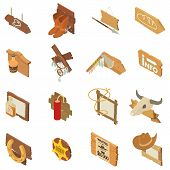 Wild West Pointer Icons Set. Isometric Set Of 16 Wild West Pointer Vector Icons For Web Isolated On  poster