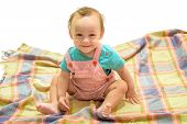 Cheerful And Carefree. Happy Little Child. Adorable Small Baby. Little Boy Child. Cute Baby Sit On F poster
