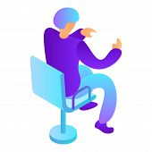 Man At Desktop Chair Icon. Isometric Of Man At Desktop Chair Vector Icon For Web Design Isolated On  poster