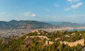 Panorama Of The Old Town Overlooking The Beach. View Of The Resort Town. Alanya Is Popular Tourist D poster