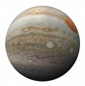 Full Disk Of Planet Jupiter Globe From Space Isolated On White Background. View Of Jupiters Great R poster