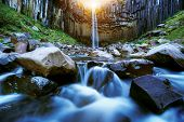 Svartifoss waterfall with basalt stone pillars, Iceland. One of the most beautiful waterfall in Icel poster