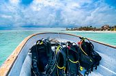Boat With Scuba Diving Equipment Heading For Dive In Paradise, Mahahual, Yucatan, Mexico poster