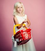Kid Hold Plastic Shopping Basket Toy. Kids Store. Mall Shopping. Buy Products. Play Shop Game. Cute  poster