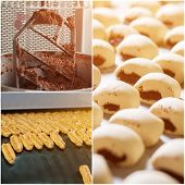 Cakes Manufacturing Process, Collage. Confectionery Factory Manufacturing. Manufacture Of Bakery Pro poster