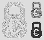 Mesh Euro Weight Model With Triangle Mosaic Icon. Wire Carcass Polygonal Mesh Of Euro Weight. Vector poster