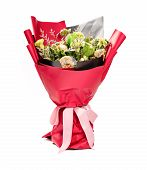 Bunch Of Faded Flowers On White With Clipping Path poster