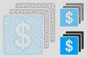 Mesh Finances Model With Triangle Mosaic Icon. Wire Carcass Triangular Mesh Of Finances. Vector Mosa poster