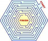 image of brain teaser  - A vector illustration of hexagonal maze  - JPG