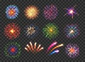Big Set Of Various Fireworks With Brightly Shining Sparks. Colorful Pyrotechnics Show. Realistic Fir poster
