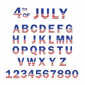 Usa Flag Alphabet And Numbers. 4th Of July Usa Flag Style Font Design. Usa Flag Font Template. Font  poster