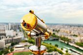 Vintage Coin Operated Telescope Overlooking For Paris From Top Of Eiffel Tower. Monocular At Observa poster
