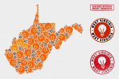 Power Bulb Mosaic West Virginia State Map And Rubber Round Watermarks. Mosaic Vector West Virginia S poster