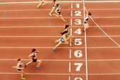 Finish Line Woman Runners Sprinters Run 100 Meters Motion Blur poster