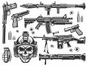 Vintage Military And Army Elements Set With Automatic Assault Rifles Grenade Rocket Launcher Bazooka poster