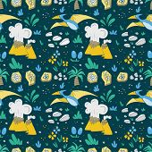 Dinosaur Seamless Pattern With Funny Dinosaurs In Cartoon Style poster