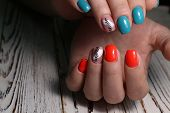 Fashion Nails Manicure On Beautiful Female Hands poster