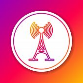 Color Antenna Line Icon Isolated On Color Background. Radio Antenna Wireless. Technology And Network poster
