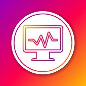 Color Computer Monitor With Cardiogram Line Icon Isolated On Color Background. Monitoring Icon. Ecg  poster