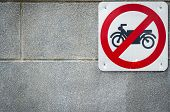 Motorcycle No Entry Sign Install On Concrete Wall In Front Of Tunnel Under Road. Traffic Sign To Pro poster