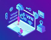 Vpn. Virtual Private Network. Data Encryption, Ip Substitute. Secure Vpn Connection Concept. Cyber S poster