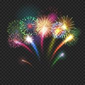 Bursting Fireworks Festive Background With Brightly Shining Sparks. Realistic Fireworks Explosions V poster