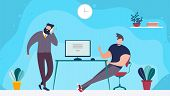 Coworking Office Space And People Working Together. Cartoon Bearded Man Talking Phone And Male Cowor poster