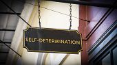 Street Sign The Direction Way To Self-determination poster