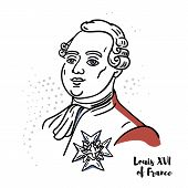 Louis Xvi Of France Flat Colored Vector Portrait With Black Contours. The Last King Of France Before poster