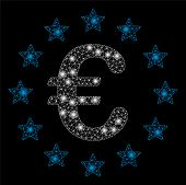 Flare Mesh European Union With Glare Effect. Abstract Illuminated Model Of European Union Icon. Shin poster