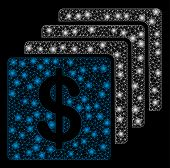 Glowing Mesh Finances With Glare Effect. Abstract Illuminated Model Of Finances Icon. Shiny Wire Fra poster