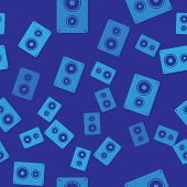 Blue Stereo Speaker Icon Isolated Seamless Pattern On Blue Background. Sound System Speakers. Music  poster