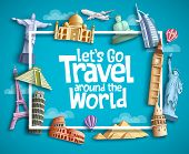 Travel And Tourism Vector Banner Design With Boarder Frame, Travel Text And Famous Landmarks And Tou poster