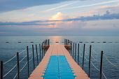 Travel Vacation Tropical Destination. Pier On The Sea Landscape. Travel Vacations Destination. Trave poster