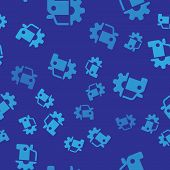 Blue Car Service Icon Isolated Seamless Pattern On Blue Background. Auto Mechanic Service. Mechanic  poster