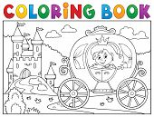 Coloring Book Princess Carriage Theme 2 - Eps10 Vector Picture Illustration. poster