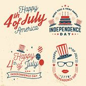 Set Of Vintage 4th Of July Design In Retro Style. Fourth Of July Felicitation Classic Postcard. Inde poster