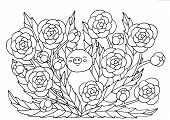 Abstract Coloring Page With Summer Flowers And Cute Pig, For Kids And Adults poster
